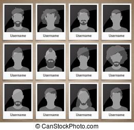 Set of male avatars