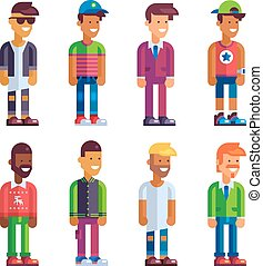 Set of male characters in flat design.