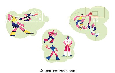 Set of Male Characters in Sports Uniform Practicing Football, Basketball and Handball Games. Soccer Player Kicking Ball to Goalkeeper. People Take Part in Competition. Cartoon Vector Illustration