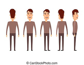 Set of Male characters. Man, boy, person, user. Modern vector illustration flat and cartoon style. Different positioning. White background.