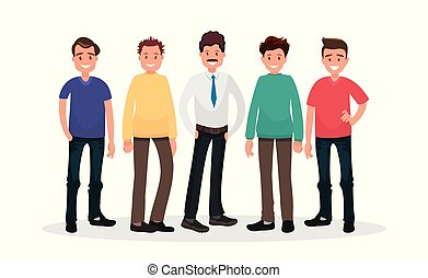 Set of male characters on white background. Group of guys.