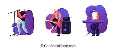 Set of Male Characters Rock Band Musicians with Instruments Electric Guitar, Synthesizer and Singer Singing Song with Floor Microphone Isolated on White Background. Cartoon People Vector Illustration