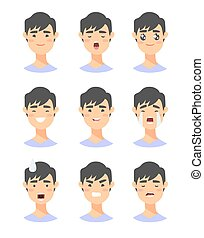 Set of male emoji characters. Cartoon style emotion icons. Isolated asian boys avatars with different facial expressions. Flat illustration men's emotional faces. Hand drawn vector drawing emoticon