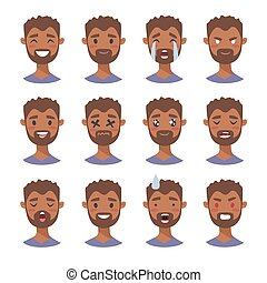 Set of male emoji characters. Cartoon style emotion icons. Isolated black boys avatars with different facial expressions. Flat illustration men's emotional faces. Hand drawn vector drawing emoticon