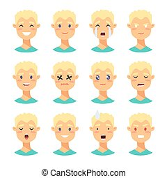 Set of male emoji characters.