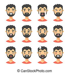Set of male emoji characters. Cartoon style emotion icons. Isolated boys avatars with different facial expressions. Flat illustration men emotional faces. Hand drawn vector drawing emoticon