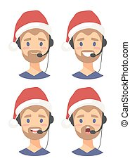 Set of male emoji customer support phone operator in...