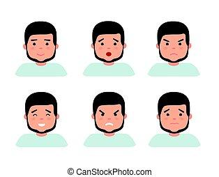 Set of male facial emotions. Bearded man emoji character...