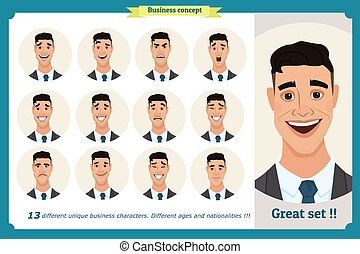 Set of male facial emotions. Face expressions of a man. Flat cartoon character. Businessman in a suit and tie. Isolated vector on white.
