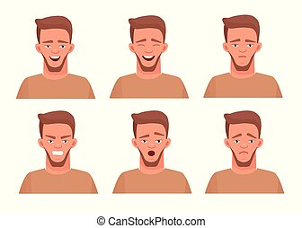 Set of male facial emotions. Guy dude emoji character with different expressions. Vector illustration in cartoon style