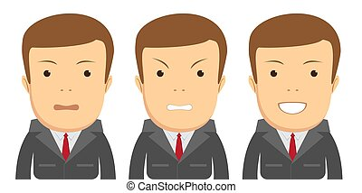 Set of male facial emotions.