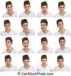 set of male facial expressions - set of different male...