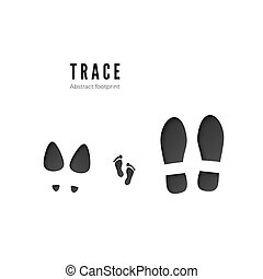 Set of male, female and child footprints. Dark icon of foot print trace isolated on white background. Vector illustration