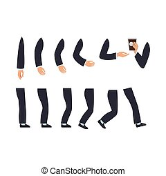 Set of Male Hands and Legs Vector Illustration