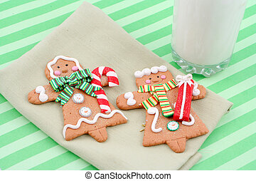 christmas gingerbread cookies - set of man and woman...