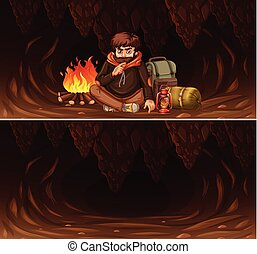 Set of man camping in cave scene