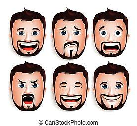 Set of Man Head Facial Expressions