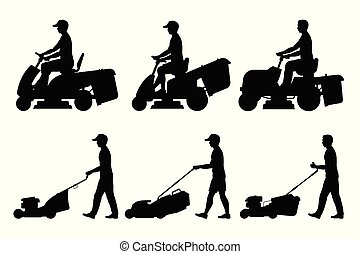 Set of Man mowing the lawn with lawnmower
