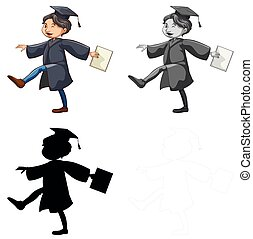 Set of man wearing graduation gown illustration