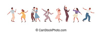 Set of man, woman and pair performing Lindy hop or Swing ...