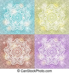 set of mandala snowflake background