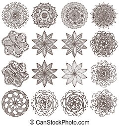 set of mandalas isolated on white