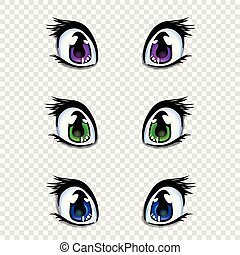 Set Of Manga Anime Style Eyes In Green Blue And Lilac Colors