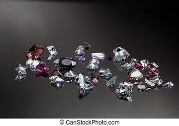 Set of many different gemstone - Background with set of many...