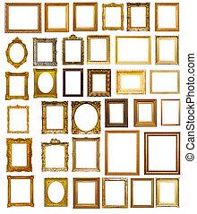 Set of many gilded frames. Isolated over white background, ...