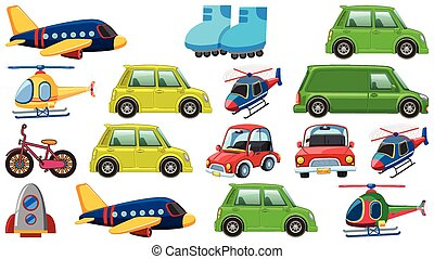 Set of many types of transportations on white background