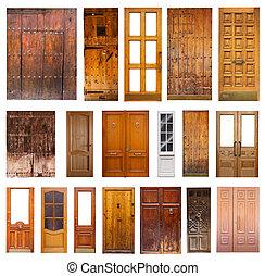 Set of many wooden doors. Isolated on white