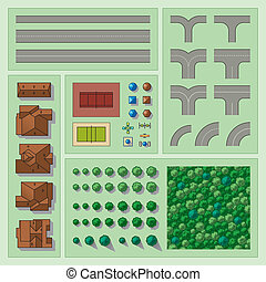 Set of map elements - Collection of different vector map...