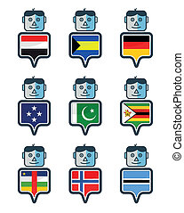 Set of Map flag icon, Mr. icon, Vector