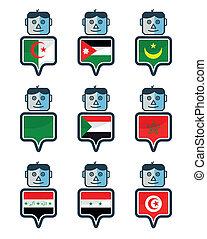Set of Map flag icon, Mr. icon