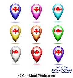 Set of map icon with flag of Canada. Vector illustration.