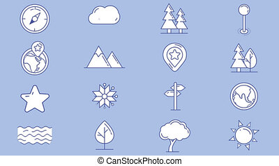 Set of map icons, natural objects - Set of geographic icons...