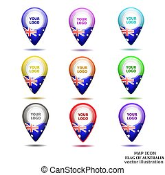 Set of map icons with flag of Australia. Vector illustration.
