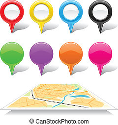 Set of map markers and abstract map.