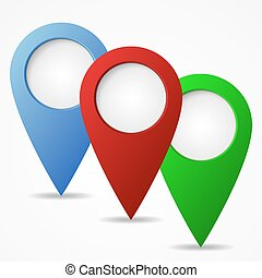 Set of map markers. - Map markers with blank circles. Set of...