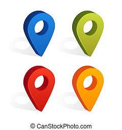 Set of Map Pin Icons with Shadow Isolated on White Background. Vector Illustration