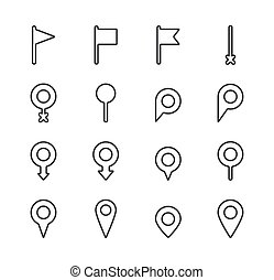 Set of map pointer line icon. Navigation signs in different styles. Location pin symbol