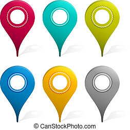 Set Of Mapping Pins Icon, Isolated On White Background,...