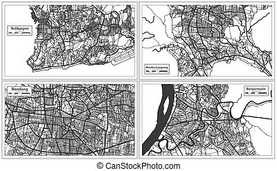 Set of Maps from Four Indonesian Cities. Banjarmasin, Bandar Lampung, Balikpapan and Bandung Indonesia City Map in Black and White Color. Outline Map.