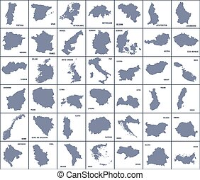 Set of maps of European countries isolated on white background.