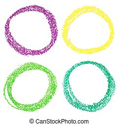 Set of Mardi Gras circle spots of pastel crayon, isolated on...