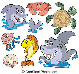 Set of marine animals