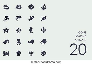 Set of marine animals icons