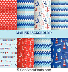 Set of Marine Backgrounds - Seamless Sea Time Pattern - in vector