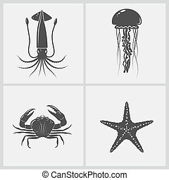 Set of marine creature - Black realistic crab, squid and ...