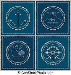 Set of marine emblem - Set of maritime emblems....